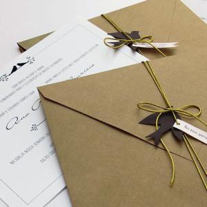 Convite de casamento papel Kraft