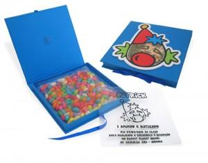 Convite infantil modelo Box com balas a escolha do cliente.