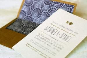 Convites de casamento tendência, papel Kraft e impressão em Hot Stampimg.
