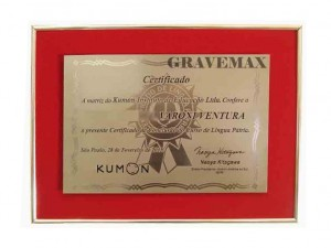 Diploma em Aço DA-2 Certificação do curso Kumon