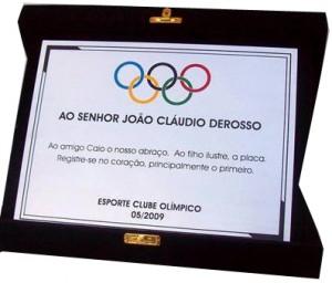 Placa de homenagem S A-10 Destaque Olímpico RJ