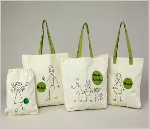 Sacolas ecolófica kit modelo família.