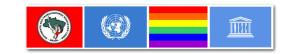 Bandeiras de organizações nacionais e internacionais.