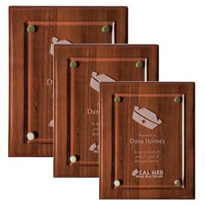 Troféus em madeira rj,com aço escovado,base de madeira com acrílico.
