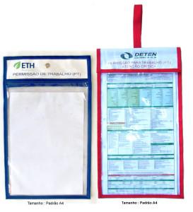 Capas de plástico para permissão de trabalho tamanho A4.