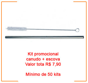 canudos de metal e escova de limpeza valor do kit R$ 7,90