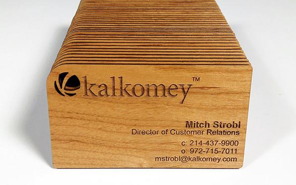 cartão de visita madeira