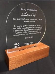 Placa de homenagem de acrílico com base de madeira