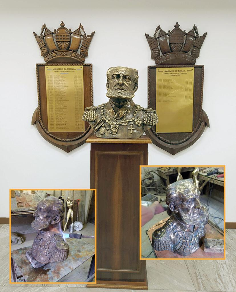 Restauraçãõ de bustos de bronze fundido